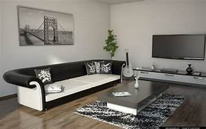deco salon noir et blanc une dualite complementaire With tapis de sol avec canape romeo cuir