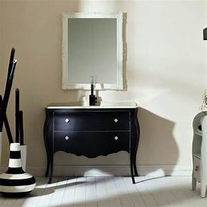 Meuble Vasque Retro : meuble r tro avec plan marbre biancone et vasque c ramique finition noire lasa idea ~ Teatrodelosmanantiales.com Idées de Décoration