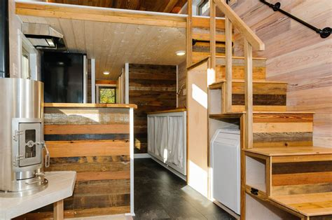 wood interior homes craftsman style tiny home featuring cedar siding and