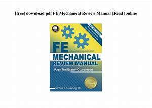 Fe Mechanical Review Manual Pdf Free