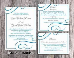 wedding invitation aqua blue template yaseen for With wedding invitation template aqua blue