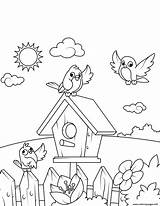 Coloring Birds Pages Birdhouse Printable Near Drawing Swing Print Spring Boy Crafts Prints Books sketch template