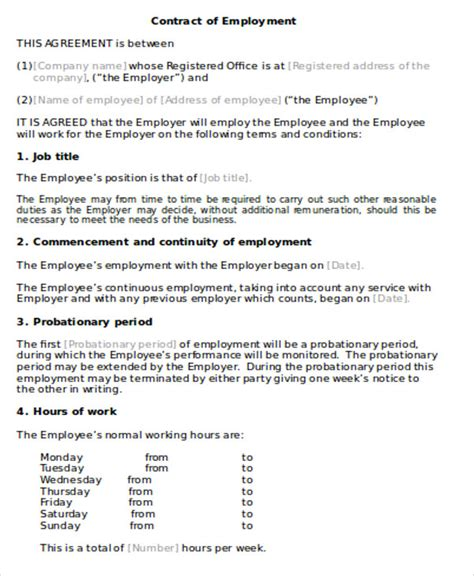 employment agreement contract sample  examples