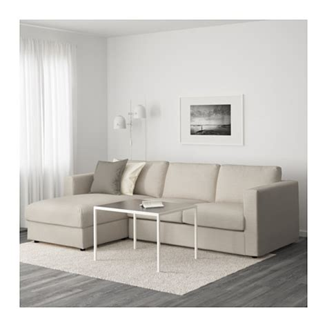 canapé ottoman vimle sofa with chaise gunnared beige ikea