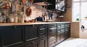 Ikea Arbeitsplatte Eiche : k che in schwarz braun arbeitsplatte aus eiche ikea k chen liebe pinterest ~ Markanthonyermac.com Haus und Dekorationen