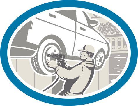 Mechanic Changing Car Tire Repair Retro Stock Vector