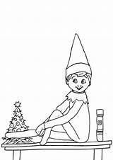 Elf Shelf Coloring Pages Tulamama Printable sketch template