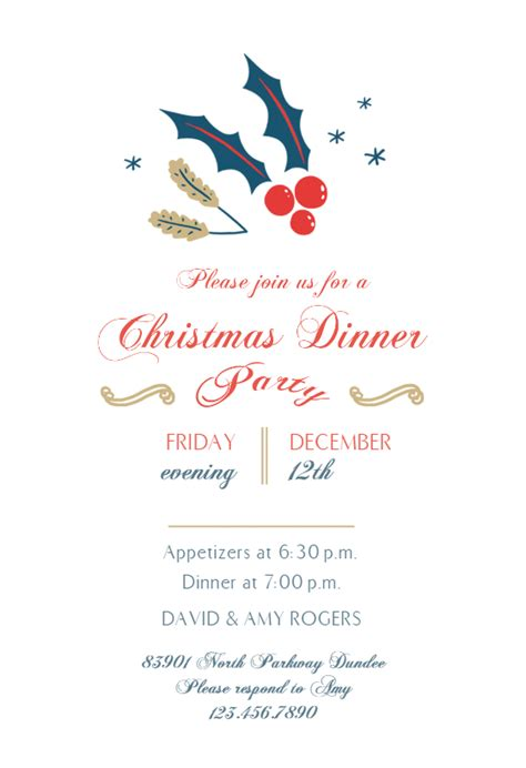 december dinner christmas invitation template