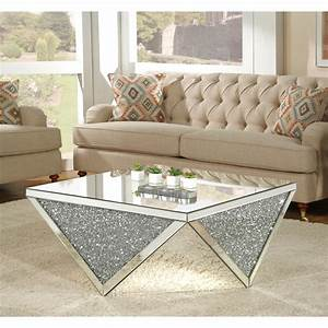 Acme, Furniture, Noralie, Coffee, Table, Mirrored, -, Walmart, Com
