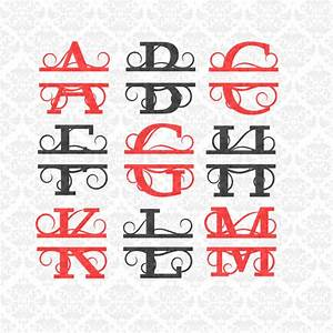 split monogram swirly letters fancy last name alphabet svg With picture letters for last name