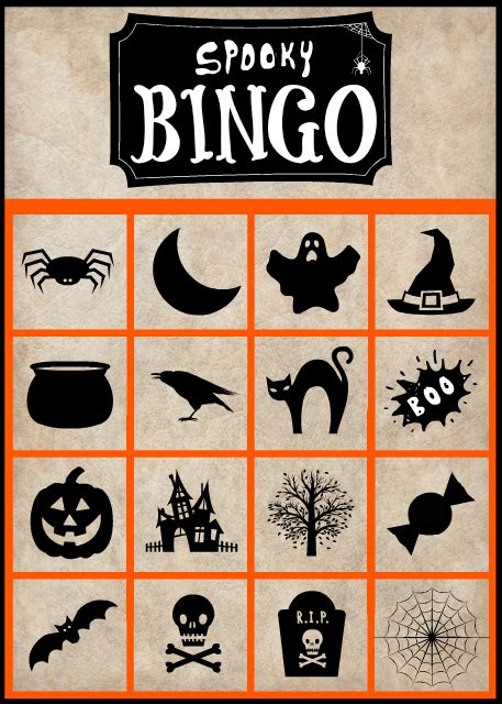 spooky halloween bingo cards  printable