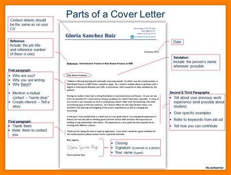 parts of a 8 parts of a cover letter sales clerked