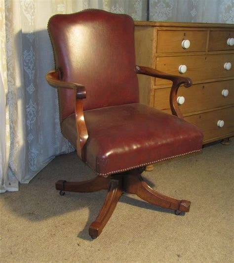edwardian mahogany and leather office desk chair