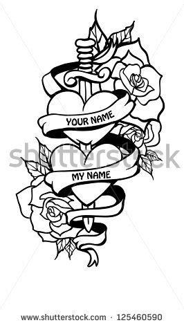 Doodle couple of hearts in tattoo style with banner. - stock vector | Banner Tattoos | Tatoo, Bijoux