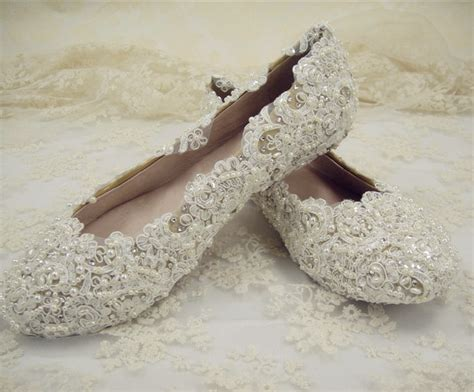 Free Shopping Women's Flat Bridal Shoes/ Pearls Wedding Shoes/ Pearl Ivory Lace Shoes/round Toe Wedding Locations Phoenix Az Chapels Niagara Falls Ontario Fiji Nashville Tn Nz Us Uk Unusual Puglia