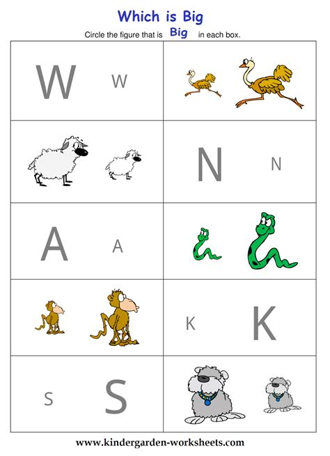 kindergarten worksheets big and small worksheets