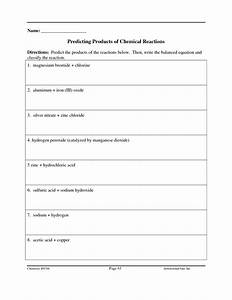 Classification Of Chemical Reactions Worksheet Answers