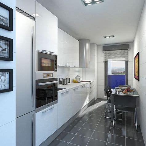 resultado de imagen de cocinas alargadas blancas cocina