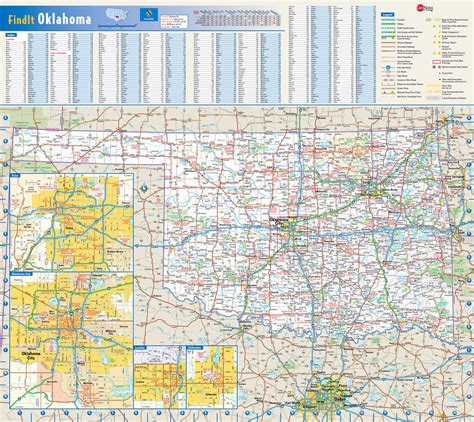 large roads  highways map  oklahoma state