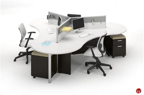bureau call center the office leader milo cluster of 4 person cubicle office