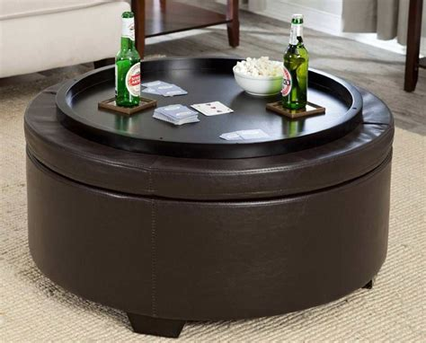 round storage ottoman with tray round ottoman coffee table tray storage ottoman with tray