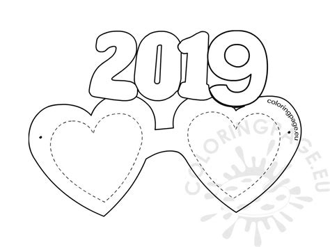 year photo booth props selfie coloring page