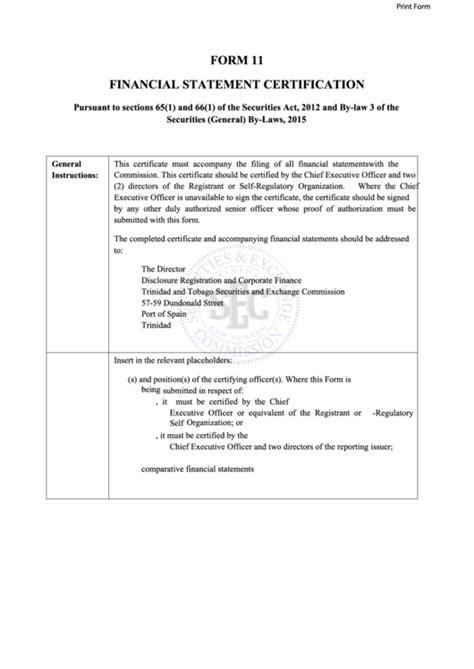 fillable form  financial statement certification ttsec