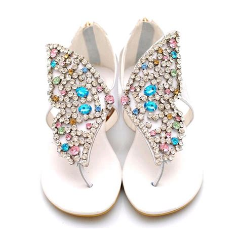 colorful sandals s shoes colorful butterfly rhinestone genuine