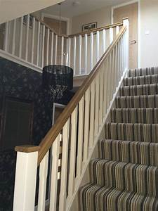 Basic Staircase With Oak Handrail And Pine Stop Chamfered
