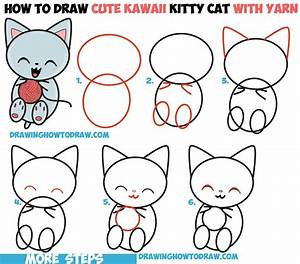 How to Draw Cute Kawaii Kitten / Cat Playing with Yarn ...