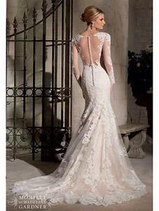 mori lee 2725 long sleeved lace wedding gown ivory With long lace wedding dress