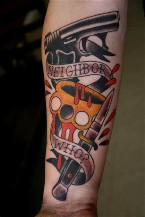 school gun dagger tattoo  big kahuna tattoo