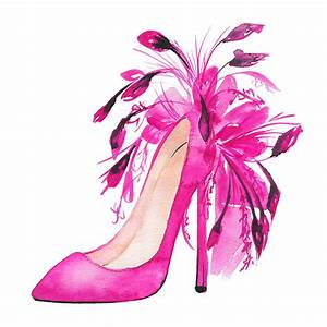 Pink Shoes, Watercolor Fashion Illustration Painting by ...
