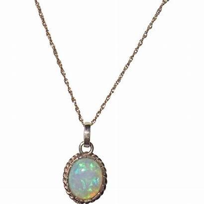 Opal Necklace Gold Pendant 14k Ruby Phalan