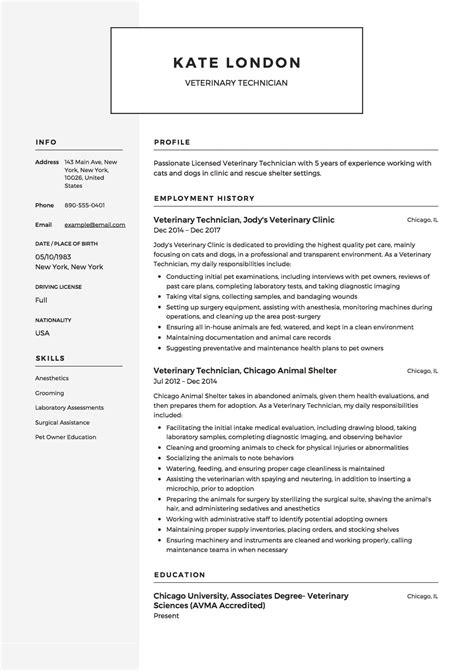 resume templates veterinary assistant resume templates