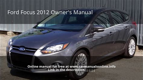 ford focus owners manual youtube