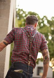 Plaid Shirt and Suspenders