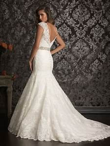 Vintage inspired lace wedding dress with v backcherry for Lacy wedding dresses