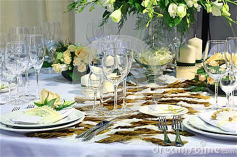 Details Of Beautiful Table Set For Wedding Dinner Royalty