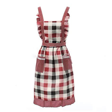 Kitchen Aprons Ireland by Ireland Plaid Adjustable Apron Bib With 2 Pockets