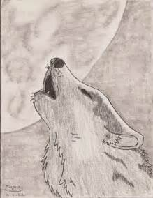Wolves Howling at the Moon Drawing