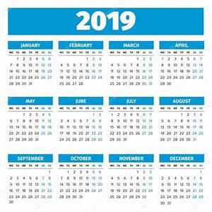 Calendario del año 2019 simple — Archivo Imágenes