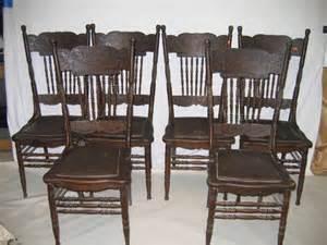 616462 6 larkin oak press back chairs w lions lot 616462