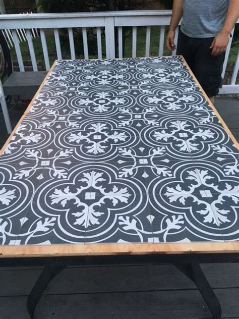 wooden table with tile top diy tile tabletop seeking lavendar lane