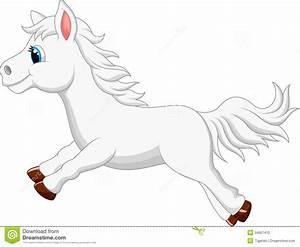 Cute White Pony Horse Cartoon Running Stock Photo - Image ...