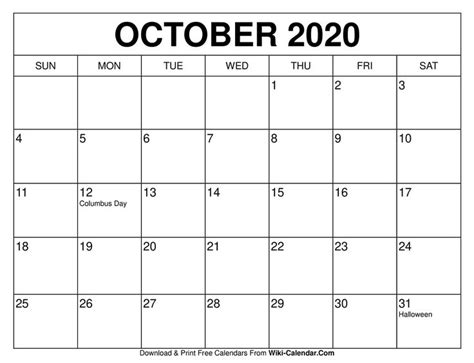 printable october  calendar templates