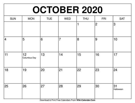 printable october  calendar templates