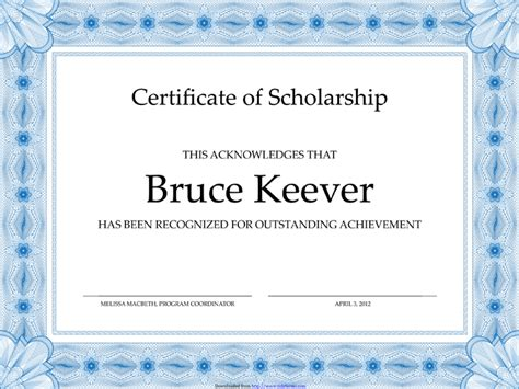 scholarship award certificate templates exquisite certificate of scholarship template sample with
