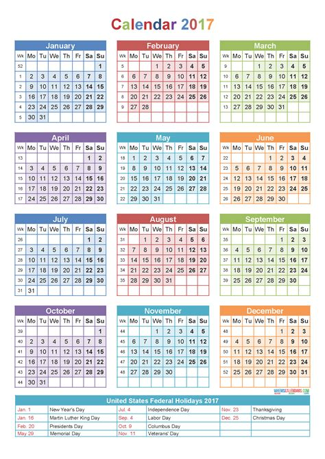 yearly calendar   holidays printable template