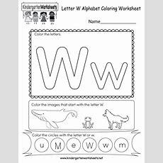 Letter W Coloring Worksheet  Free Kindergarten English Worksheet For Kids
